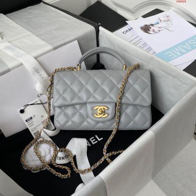 Chanel  2021最新Mini CF handle 手提包 AS2431经典菱格口盖包  饰以精致经典链子搭配手提 细腻羊皮 润饰手袋 脱颖而出 演绎永恒优雅 尺寸 20x12x6cm